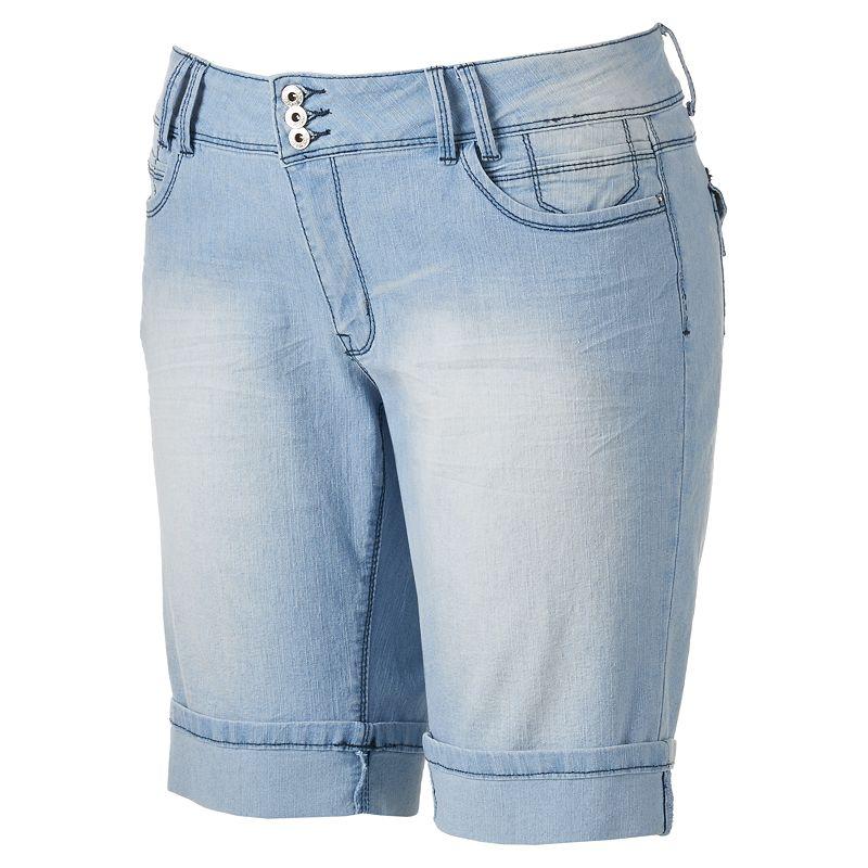 Angels Cuffed 3-Button Bermuda Shorts - Juniors' Plus