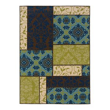 StyleHaven Cayman Block Scroll Indoor Outdoor Rug