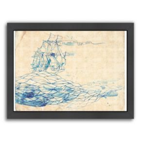 Americanflat Paula Mills ''Blue Ship'' Framed Wall Art