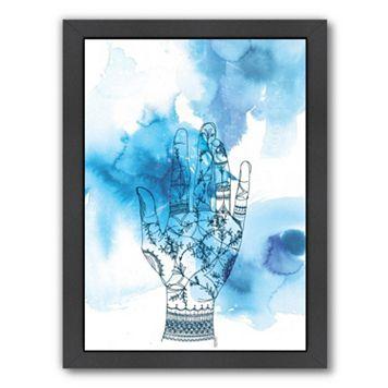 Americanflat Paula Mills ''Blue Wash Hand'' Framed Wall Art