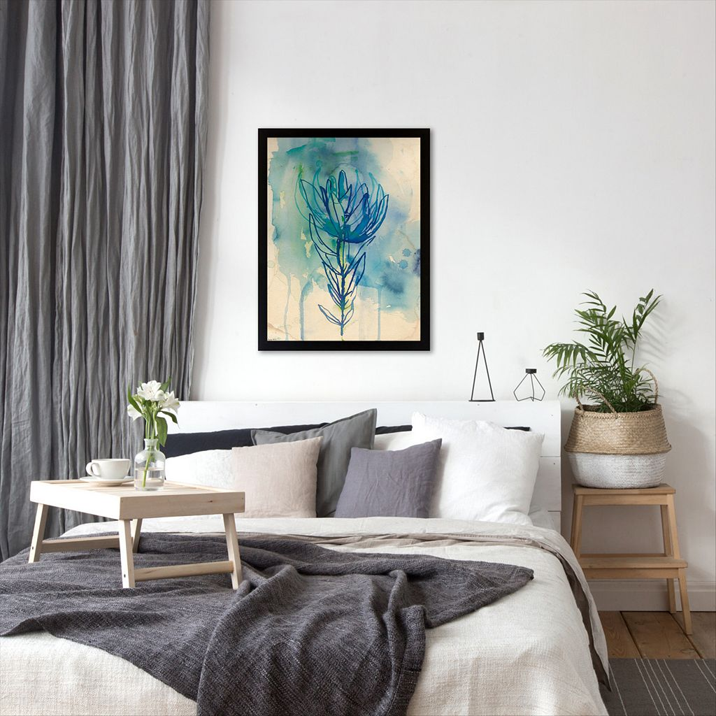 Americanflat Paula Mills ''Blue Wash Protea'' Framed Wall Art