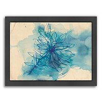 Americanflat Paula Mills ''Blue Wash Wild Flower'' Framed Wall Art