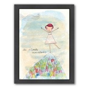 Americanflat Paula Mills ''Camille Colouring In Book'' Framed Wall Art