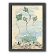 Americanflat Paula Mills ''Four Happy Kites'' Framed Wall Art