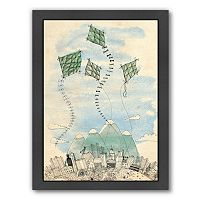Americanflat Paula Mills ''Four Happy Kites'' Framed Wall Art