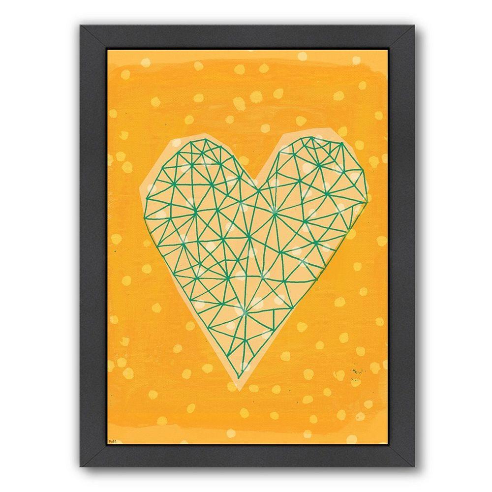Americanflat Paula Mills \'\'Geometric Heart In Yellow\'\' Framed Wall Art