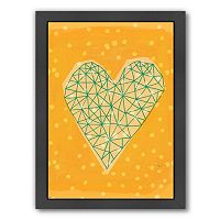 Americanflat Paula Mills ''Geometric Heart In Yellow'' Framed Wall Art