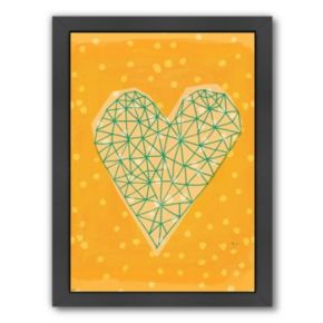 Americanflat Paula Mills ''Geometric Heart In Yellow'' Framed Wall Art