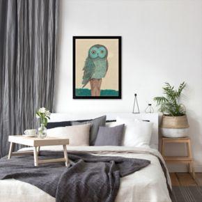 Americanflat Paula Mills ''Owl In Blue Monotone'' Framed Wall Art