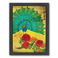 Americanflat Paula Mills ''Peacock Wooden'' Framed Wall Art