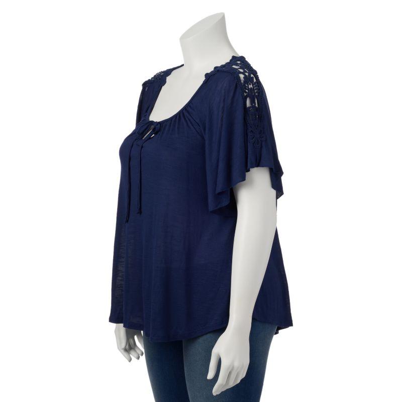 IZ Byer California Crochet Sheer Flutter Top - Juniors' Plus, Size: 1X (Blue)
