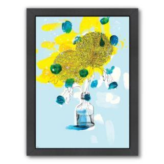 Americanflat Paula Mills ''Yellow Flowers'' Framed Wall Art