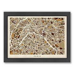 Americanflat Michael Tompsett ''Paris Street Map VI'' Framed Wall Art
