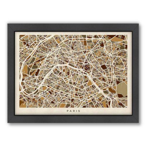 Americanflat Michael Tompsett ''Paris Street Map VI'' Framed Wall Art