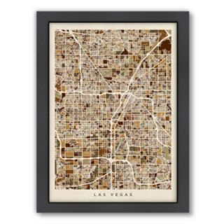 Americanflat Michael Tompsett ''Las Vegas Street Map'' Framed Wall Art