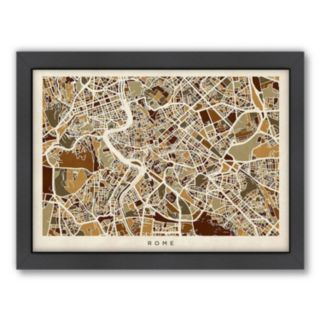 Americanflat Michael Tompsett ''Rome Street Map'' Framed Wall Art