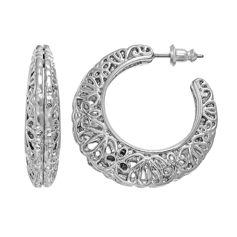 White Gold Filigree Hoop Earrings Filigree Hoop Earrings