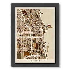Americanflat Michael Tompsett ''Chicago Street Map IV'' Framed Wall Art