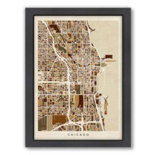 Americanflat Michael Tompsett ''Chicago Street Map IV'' Framed Wall Art