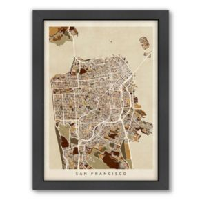 Americanflat Michael Tompsett ''San Francisco City Street Map'' Framed Wall Art