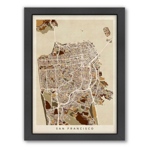 Americanflat Michael Tompsett ''San Francisco City Street Map'' Framed Wall Art