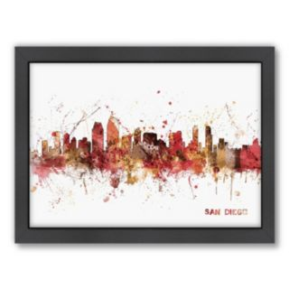 Americanflat Michael Tompsett ''San Diego, California Skyline IV'' Framed Wall Art