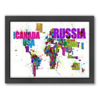 Americanflat Michael Tompsett ''Map Of The World'' Framed Wall Art