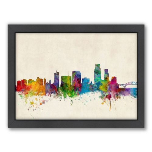 Americanflat Michael Tompsett ''Corpus Christie Skyline'' Framed Wall Art