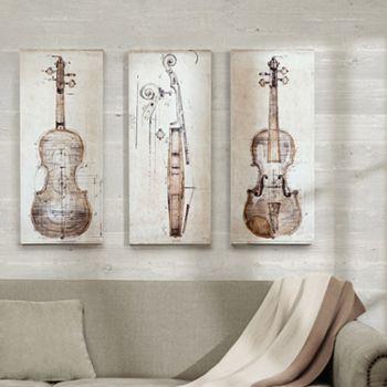 Madison Park 3-piece \'\'Violin Study\'\' Canvas Wall Art Set