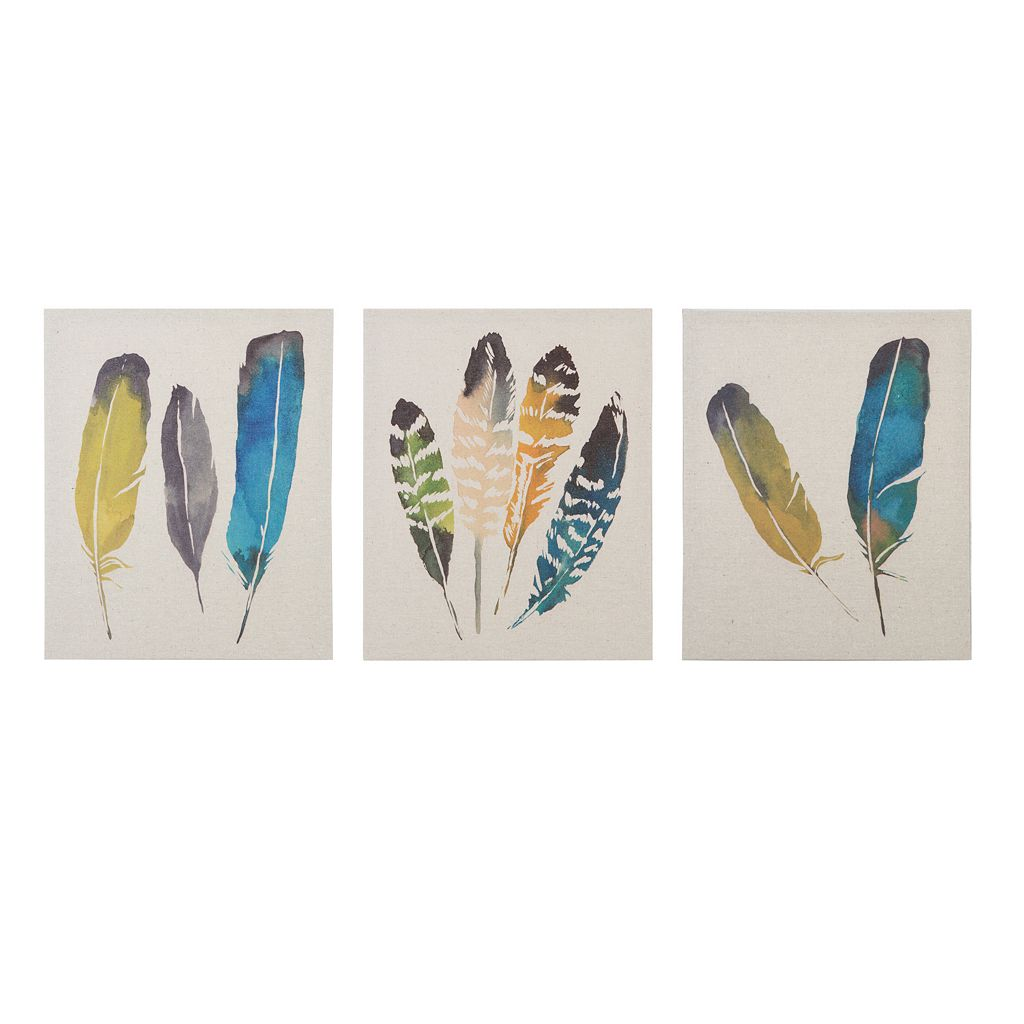 Madison Park 3-piece ''In the Wind'' Feather Wall Art Set