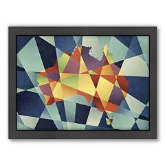 Americanflat Michael Tompsett ''Australia Geometric Map'' Framed Wall Art