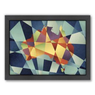 Americanflat Michael Tompsett ''Australia Geometric Map'' Framed Wall Art