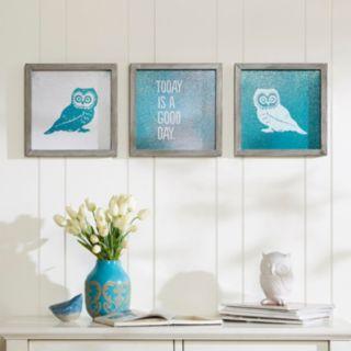 Intelligent Design 3-piece ''Wise As An Owl'' Wall Art Set