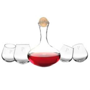 Cathy's Concepts Monogram Wine Decanter and Tipsy Wine Glass Set