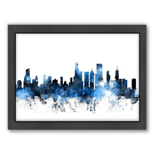 Americanflat Michael Tompsett ''Chicago, Illinois Skyline XII'' Framed Wall Art
