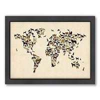 Americanflat Michael Tompsett ''Dogs Map of the World'' Framed Wall Art