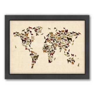 Americanflat Michael Tompsett ''Dogs Map of the World'' Framed Wall Art