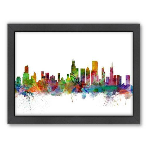 Americanflat Michael Tompsett ''Chicago Skyline I'' Framed Wall Art