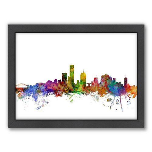 Americanflat Michael Tompsett ''Milwaukee, Wisconsin Skyline I'' Framed Wall Art