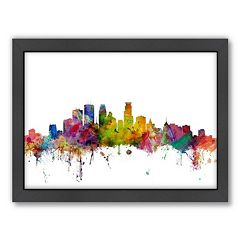 Americanflat Michael Tompsett ''Minneapolis, Minnesota Skyline II'' Framed Wall Art