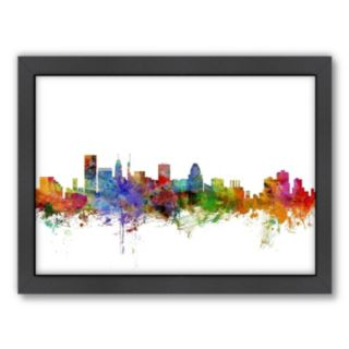 Americanflat Michael Tompsett ''Baltimore Skyline'' Framed Wall Art