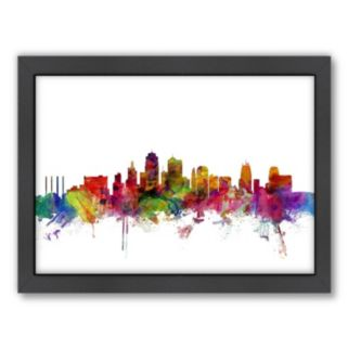 Americanflat Michael Tompsett ''Kansas City Skyline II'' Framed Wall Art