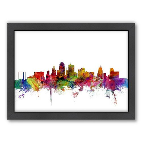 Americanflat Michael Tompsett ''Kansas City Skyline II'' Framed Wall Art