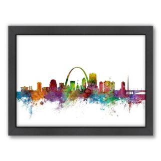 Americanflat Michael Tompsett ''St. Louis, Missouri, Missouri Skyline II'' Framed Wall Art