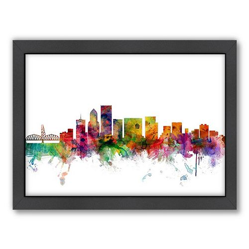 Americanflat Michael Tompsett ''Portland, Oregon Skyline II'' Framed Wall Art