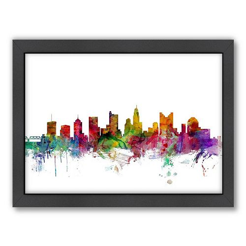 Americanflat Michael Tompsett ''Columbus, Ohio Skyline II'' Framed Wall Art