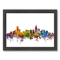 Americanflat Michael Tompsett ''Charlotte, North Carolina Skyline II'' Framed Wall Art