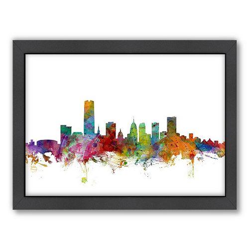 Americanflat Michael Tompsett ''Oklahoma City Skyline II'' Framed Wall Art