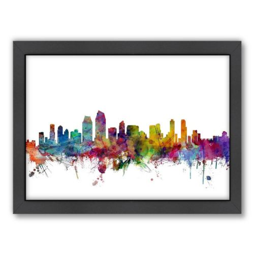 Americanflat Michael Tompsett ''San Diego, California Skyline'' Framed Wall Art