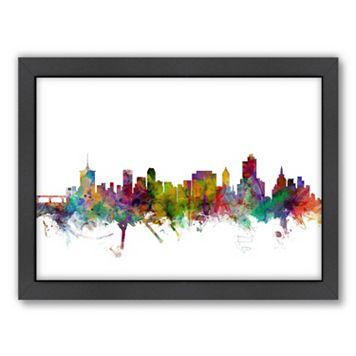 Americanflat Michael Tompsett ''Tulsa, Oklahoma Skyline II'' Framed Wall Art